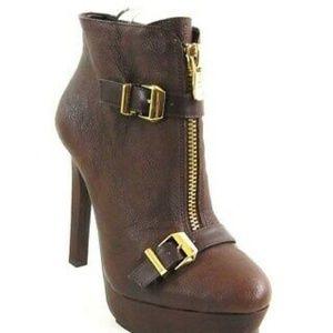 BCBG Brown Platform Wish Ankle Boots